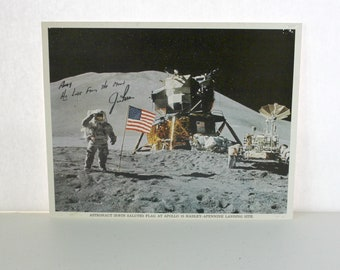 Vintage Jim Irwin Signed 8x10 Photo Moon Landing 8th Man on Moon, Astronaut Apollo 15 Hadley Apennine