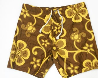 Vintage Hawaiian Holiday Sportswear Baggies Swim Trunks Shorts Brown Yellow Floral