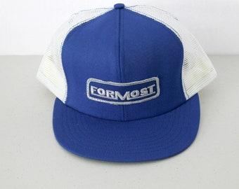 Vintage Formost Vintage Mesh Snap Back Cap Hat with Patch, Trucker Advertising