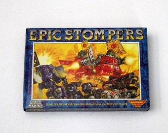 Vintage Epic Stompes Citadel Miniatures Set in Box, Warhammer 40K, Complete, 6 Sprues Plus Bases for Space Marine
