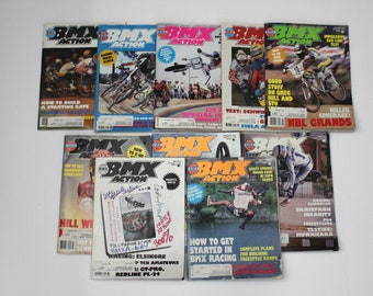 Lot 10 Vintage BMX Action Magazines 1983 1984, Racing, Bikes