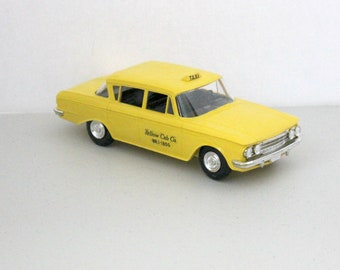 Vintage 1962 AMC Rambler Classic 400 Yellow Taxi Cab, Model Car Dealer Promo