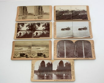 Lot 7 Stereoview Cards Oregon, Cascades, C & E, Railroad, Kilburn, Antique Stereograph