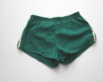 1970s Vintage Adidas Sprinter Shorts, Men's Large Green Trefoil