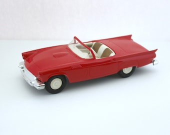 1957 Ford Thunderbird Car, Vintage AMT Promo Dealership, Red Convertible