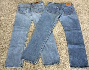 2 Pair Lot Vintage Levi 501 Button Fly Mens Blue Denim Jeans 1981 - 1984 Levi's