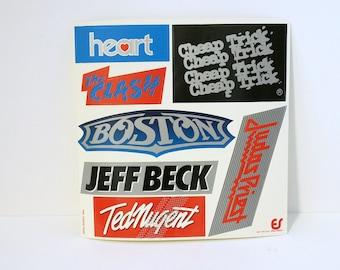 Vintage Rock and Roll Band Sticker Sheet   Clash   Boston   Heart   Cheap Trick   Judas Priest   Jeff Beck   Ted Nugent Music Bumper Sticker