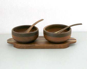 Vintage Danish Modern Mid Century Serving Dish, Nuts, Dip, Condiments, 1960s Wood Tray with 2 Bowls and Spoons.