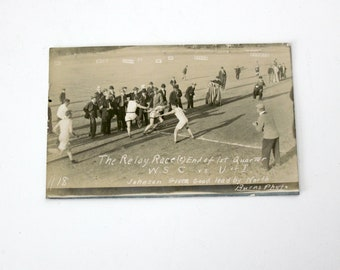 Antique RPPC Postcard, WSC vs U of I University of Idaho College Track and Field Relay Race