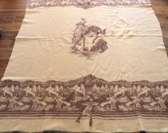 Vintage 1950s Blanket Western Cowboy Bucking Bronco Horse 74 x 58