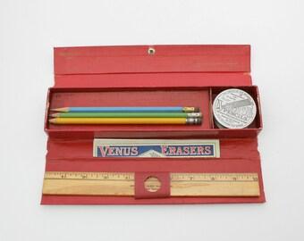 Vintage Venus Traviata No 1282 Folding Pencil Box Storage w/ Eraser Advertising, American Lead Pencil Company, Aluminum Collapsible Cup