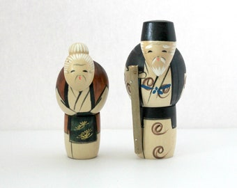 2 Vintage Wood Japanese Kokeshi Dolls, Old Couple, Elderly, Stooped, Wooden Figures