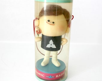 Vintage Panasonic Boy Doll in Package   Rare Advertising Radio TV Tape Recorder Battery   Made in Japan