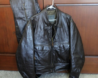 Vintage Motorcycle Leather Jacket Side Lace with Leather Riding Pants, Vintage Bomber Style Quilted Biker Jacket