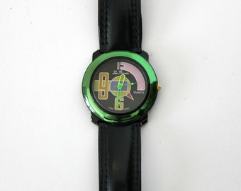 Vintage Le Baron Men's Watch Metallic Color Block 1980s Miami Vice Style