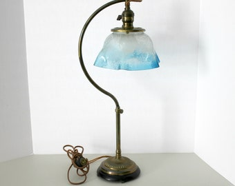 Antique 1900 - 1920s Adjustable Table Lamp, Transfer Floral Pattern Glass Shade, Vintage O. C. White Era, Works