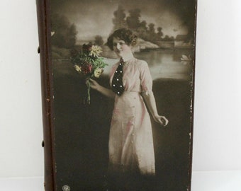 Antique Peri Lusta Needle Work & Crochet Kit 2817 Antique Photo of Woman on Leather Case with Sewing Needles Darning Rug Embroidery