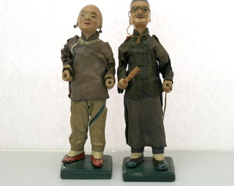 Vintage Asian Japanese Composition Dolls, Man and Woman, Folk Art, 1930s