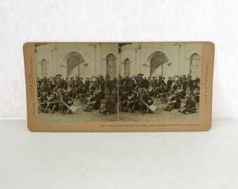 Antique Major Eastwick and Oregon Boys at Church of Angat Phillipines Military Stereoview Card, Kilburn Stereograph