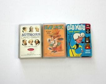 Lot 3 Card Games, Vintage Whitman Authors, Slap Jack, Ed U Cards Old Maid Circus Edition