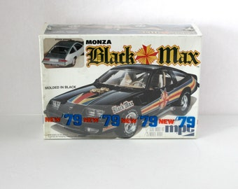Chevrolet Monza Black Max New 1979 Vintage Sealed Model Kit, Street Racer 1978 MPC 1-0736 1/25 Scale