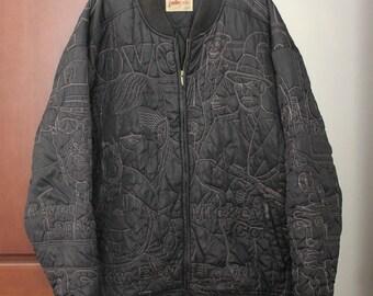 Rare PellePelle Men's Black Embroidered Jacket Coat, Size 3X, Vintage Bonnie and Clyde, Gangster, Hip Hop, Rap