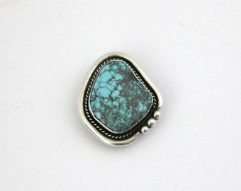 Vintage Aaron Toadlena Turquoise Sterling Silver Bolo Buckle Clip, Navajo Native American