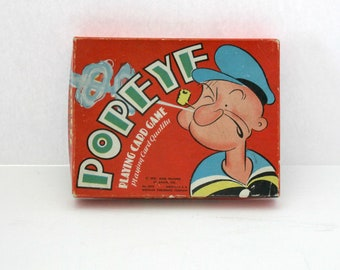 Vintage Popeye Playing Card Game, 1930s 40s Whitman
