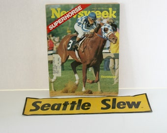 Seattle Slew Secretariat Race Horses, 1973 Newsweek Magazine, Bumper Sticker, Triple Crown