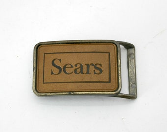 Vintage Sears Advertising Belt Buckle, 1970s Brass Leather