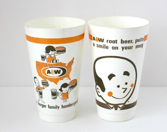 2 Vintage A  W A&W Root Beer Burger Family Plastic Cups, Vintage Advertising Hamburgers Fast Food