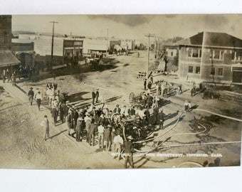 Antique Early 1900s Toppenish WA RPPC Photo Postcard, Fire Department Demo, City Hall, History, Washington State Historical Street Scene