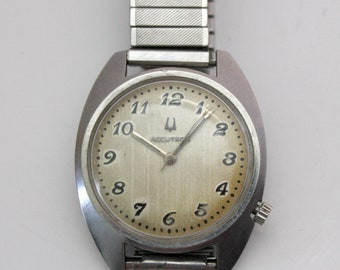 Vintage Bulova Accutron Mens Watch, Tuning Fork, Stainless, As Is, Parts or Repair