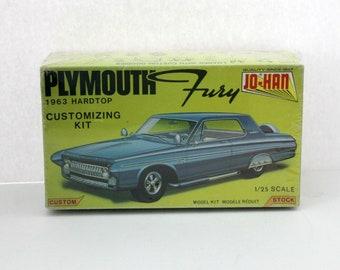 Sealed 1963 Plymouth Fury Hardtop Model Kit, Vintage Jo-Han C-5263 NIB
