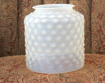 Antique Fenton Opalescent Glass Shade Hobnail Hanging Cylinder Blue Tint