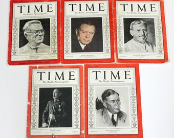Vintage 1930s Time Magazine Lot, Roosevelt Election, News, World