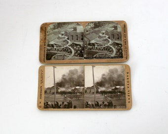 Antique Lot 2 Mitchell SD Stereoview Cards, South Dakota Omaha Railroad Train Depot Burning, Corn Palace Spiral Tower, Stereograph
