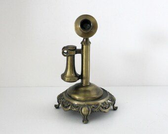 Candlestick Telephone Award, Vintage Pot Metal Phone Statue Figure