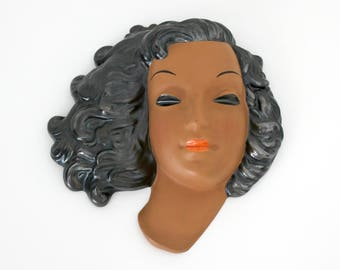 Goldscheider Wall Mask by Adolf Prischl, Vintage Mid Century Terracotta 7750 Woman Face