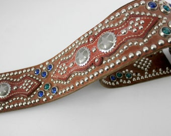 Vintage Rhinestone Metal Studded Leather Strap or Belt