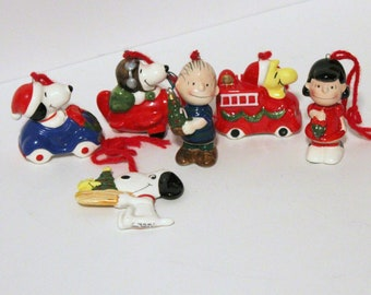 Vintage Lot of 6 Peanuts Christmas Tree Ornaments, Ceramic Snoopy Woodstock Linus Lucy