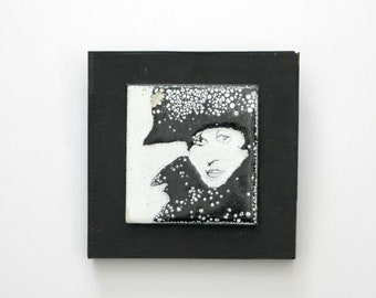 Vintage Enameled Tile Black White Woman with Hat, Pop Art 1970s Enamel Tile, Mounted on Wood