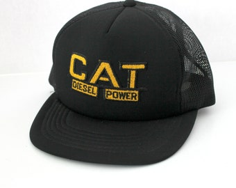 Vintage Cat Caterpillar Diesel Power Mesh Trucker Cap, Adjustable Snap Back, Moja Hat