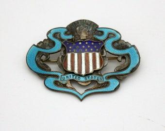 Antique WWI 1920s Sweetheart Sterling Enamel Brooch Pin US Military Shield Stars Stripes