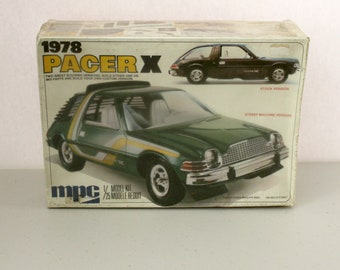 1978 AMC Pacer X Model Kit, Sealed MPC 1-7801 1/25 Scale Stock Street Machine Custom