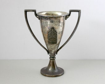 Vintage 1929 Municipal Tennis Assoc Championships Mens Doubles Runner Up Trophy, Los Angeles, Silver Plated