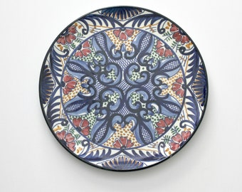 Vintage Pascual Zorrilla Wall Plate, Hand Painted in Spain, Signed Spanish Plate, Cobalt Blue