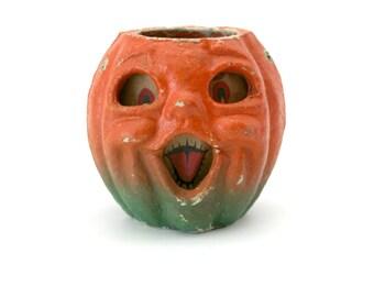 Vintage Jack O Lantern Pumpkin Halloween Paper Mache Papier-mâché 1930s 1940s Candle Holder