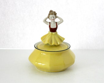 1920s Bavarian Trinket Box, German Vintage Figurine, Bavaria Ceramic Yellow, Lady Dancer,
