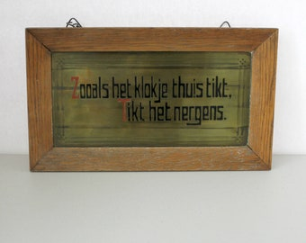 1920s Vintage Dutch Proverb Saying, Expression, Zoals het klokje thuis tikt, tikt het nergens, No Place Like Home Sign, Copper Inlay